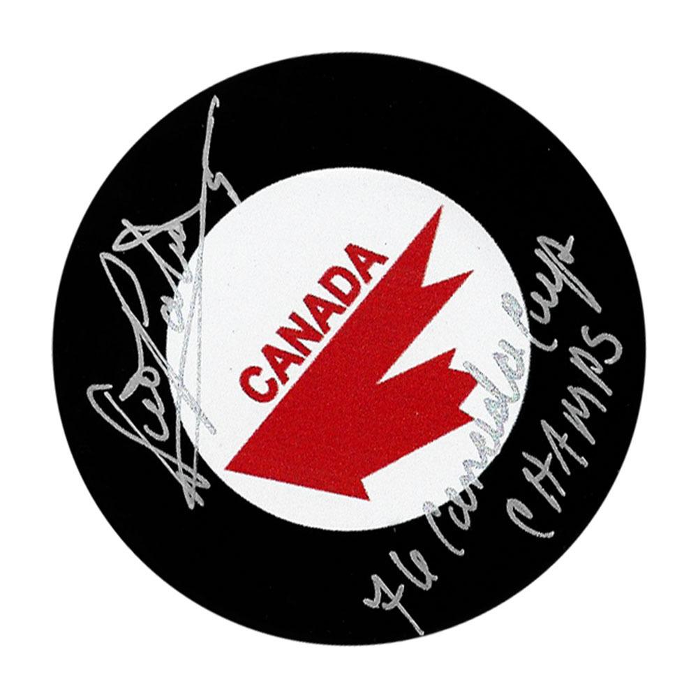 Denis Potvin Autographed Team Canada Puck w/HOF 91 Inscription