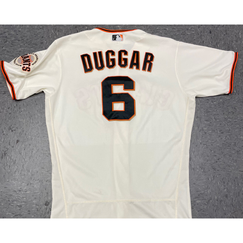 Photo of 2021 Game Used Home Cream Jersey worn by #6 Steven Duggar for 5 Games & 2 Home Runs - Size 44