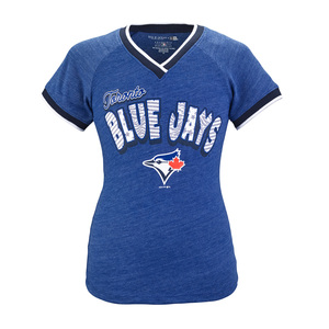 Toronto Blue Jays Youth Triblend V-Neck Raglan T-Shirt by 5th & Ocean