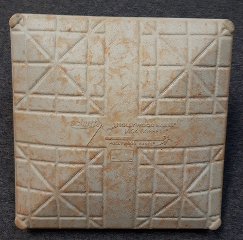 Photo of Authenticated Game Used Base - July 2, 2014. Edwin Encarnacion hit a Walk-Off HR (2nd Base for Innings 6 to 9)