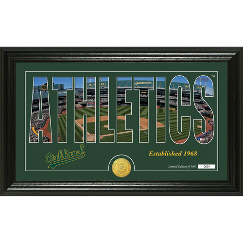 """Photo of Serial #1! Oakland A's """"Silhouette"""" Panoramic Bronze Coin Photo Mint"""