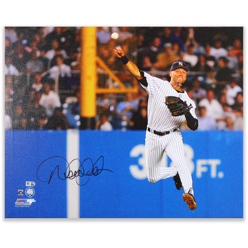 Photo of Derek Jeter Autographed 16x20 Mounted Canvas Photo