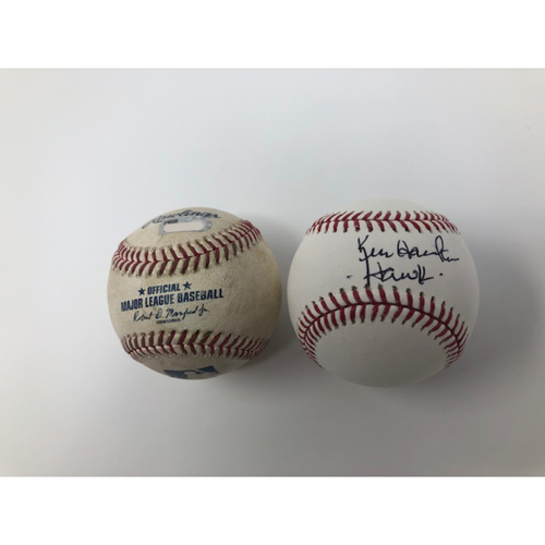 Photo of Game-Used Baseball from 9/2/2018- Hawk Day and Hawk Harrelson Autographed Baseball