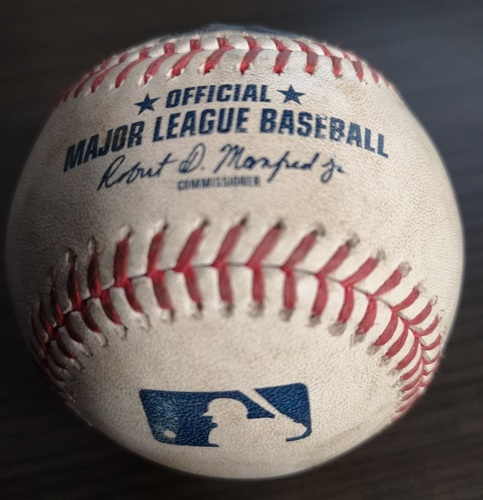 Photo of Authenticated Game Used Baseball: Strikeout by Justin Verlander against Cavan Biggio (Sep 1, 19 vs HOU). Bottom 4. Justin Verlander's 3rd Career No Hitter.