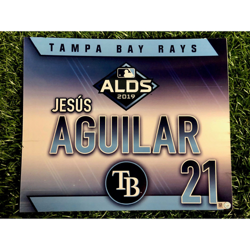 Photo of Team Issued ALDS Locker Tag: Jesus Aguilar