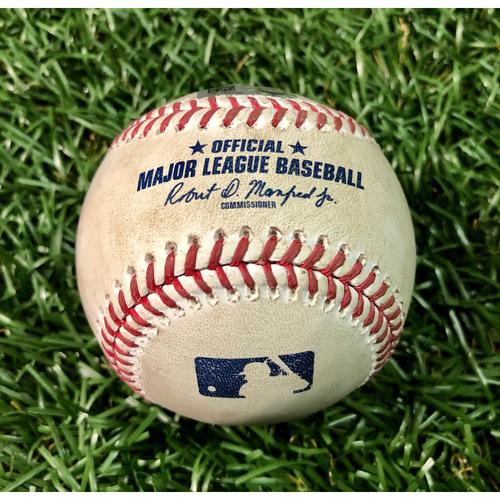 Photo of Game Used Baseball: Trevor Richards strikes out Rio Ruiz - Trevor Richards (4.1IP, 3 SO) - August 26, 2020 v BAL