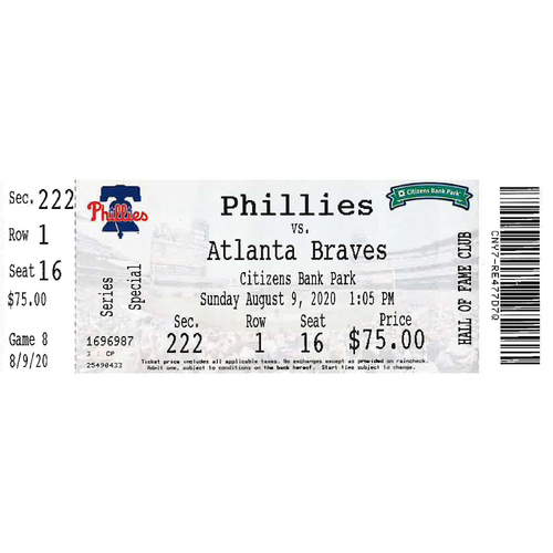 Photo of August 9, 2020 Ticket(Game 1): Phillies vs. Braves