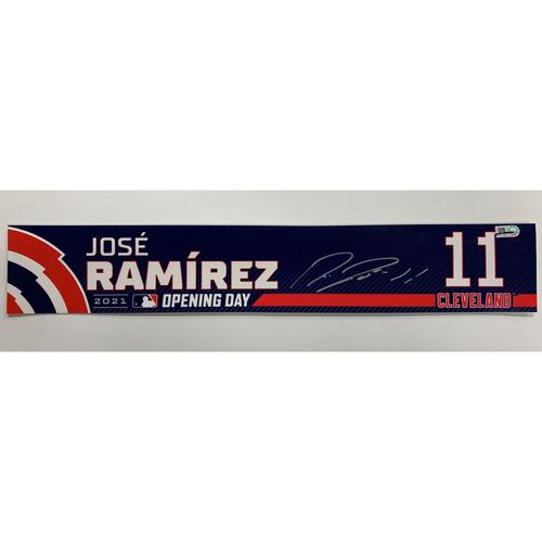 Photo of Game-Used, Autographed Jose Ramirez #11 Opening Day Locker Name Plate