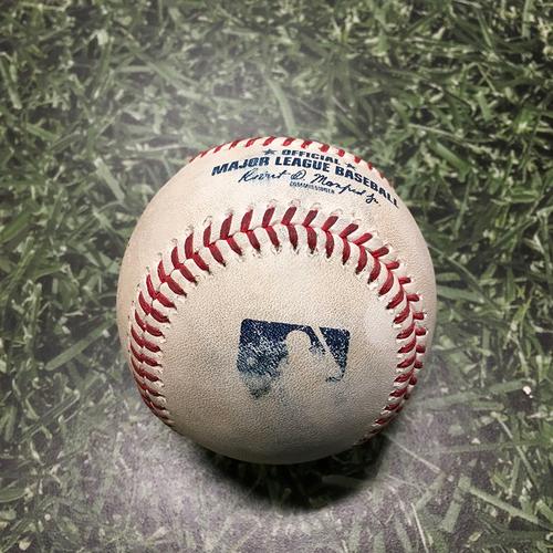 Photo of Game-Used Baseball CHC@MIL 09/18/21 - Justin Steele - Kolten Wong: Foul (Brewers Clinch Postseason Berth for 4th Consecutive Season)