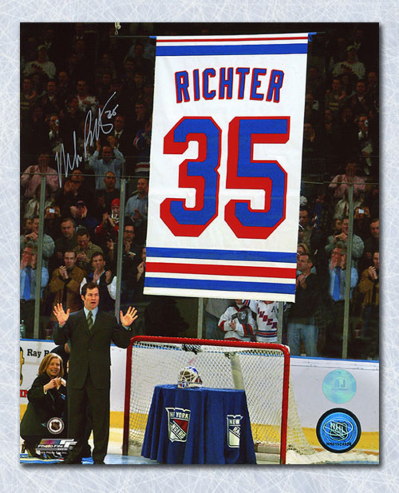Mike Richter New York Rangers Autographed Banner Retirement Night 8x10 Photo