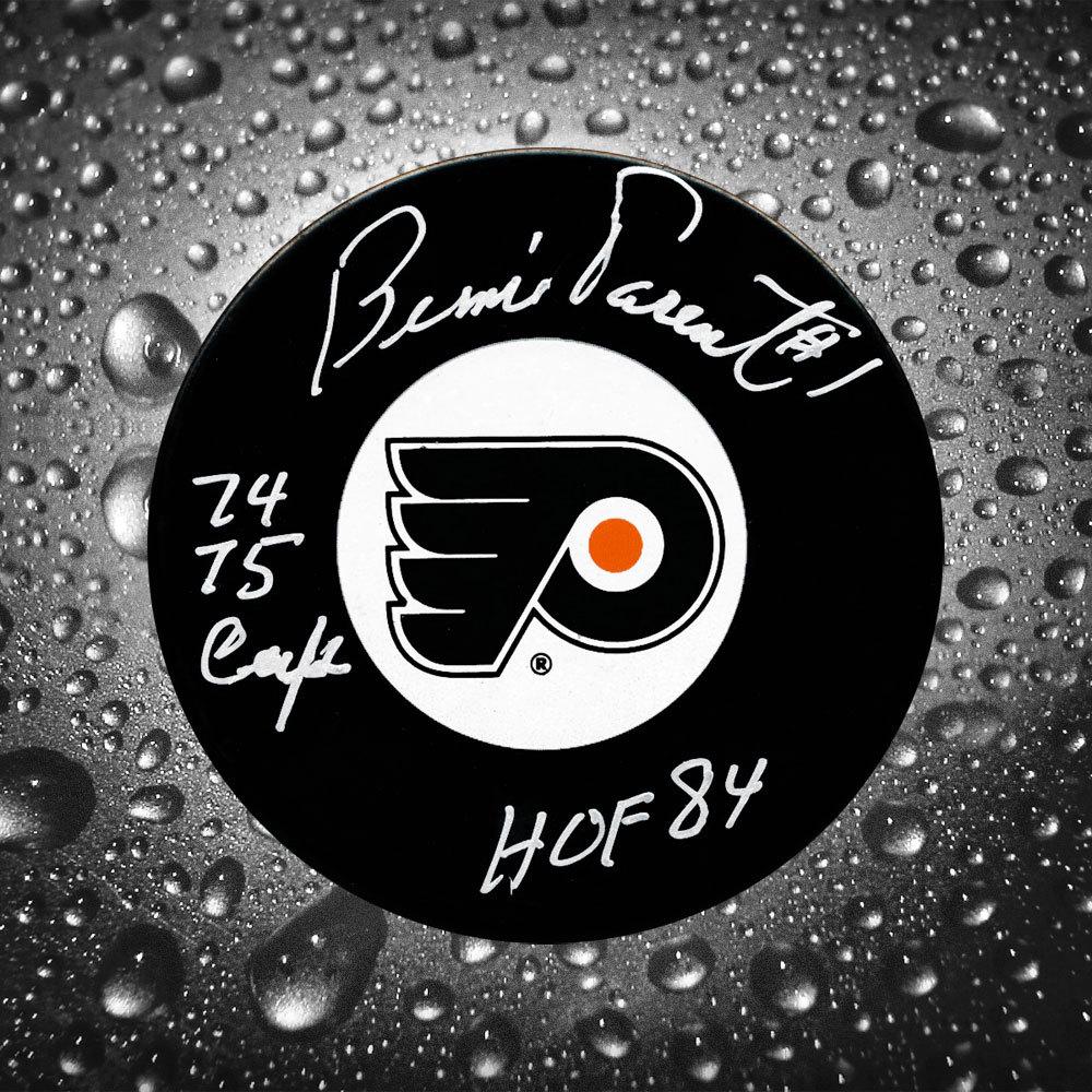 Bernie Parent Philadelphia Flyers HOF 74/75 Cup Autographed Puck