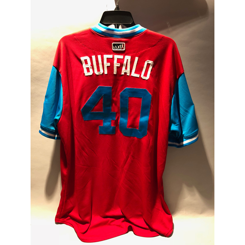 "Photo of Philadelphia Phillies 2018 Little League Classic Game-Used Jersey - Wilson ""Buffalo"" Ramos - 8/19/2018"