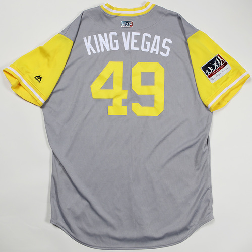 "Photo of Nick ""King Vegas"" Kingham Pittsburgh Pirates Game-Used Jersey 2018 Players' Weekend Jersey"