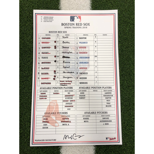 Photo of Red Sox Foundation - Spring Training Line-Up Card @ Twins - 2-27-18 - Not MLB Authenticated