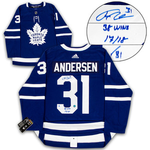 992b226bc67 Frederik Andersen Toronto Maple Leafs Signed   Noted 2018 Wins Record  Adidas Authentic Hockey Jersey LE   31Frederik Andersen Toronto Maple Leafs  Signed ...