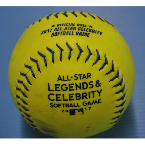 Photo of Game-Used Softball - 2017 All-Star Legends and Celebrities Softball Game - Livan Hernandez Home Run