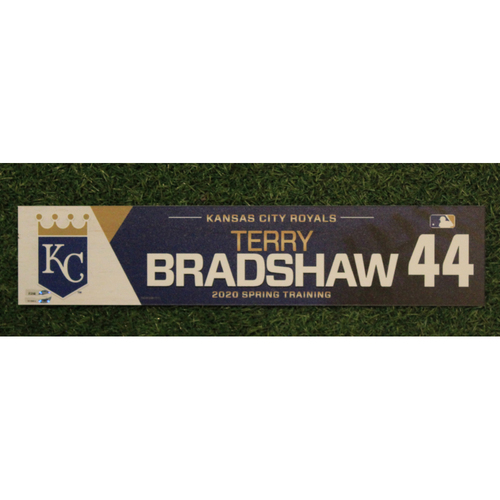 Photo of Game-Used Spring Training Locker Tag: Terry Bradshaw #44