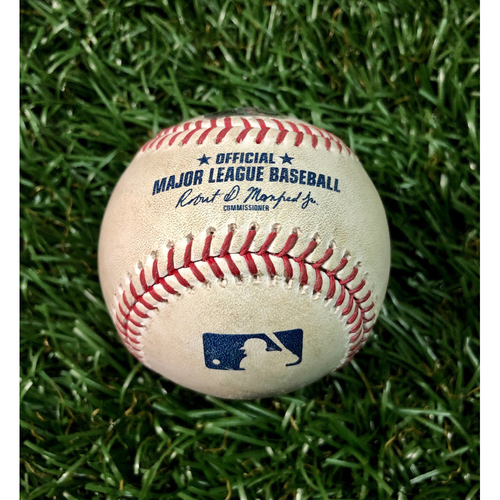 Photo of Game Used Baseball: Tanner Roark (5.0IP, 2 SO) strikes out Austin Meadows  - August 24, 2020 v TOR
