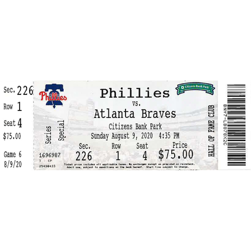 Photo of August 9, 2020 Ticket(Game 2) - Spencer Howard MLB Debut): Phillies vs. Braves