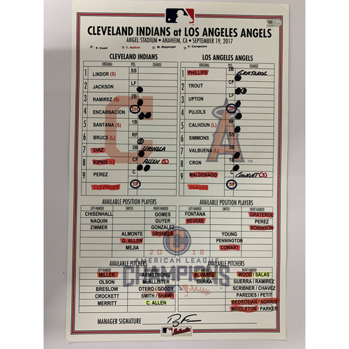 Photo of Game-Used Line-Up Card from 9/19/2017 - Indians at Angels