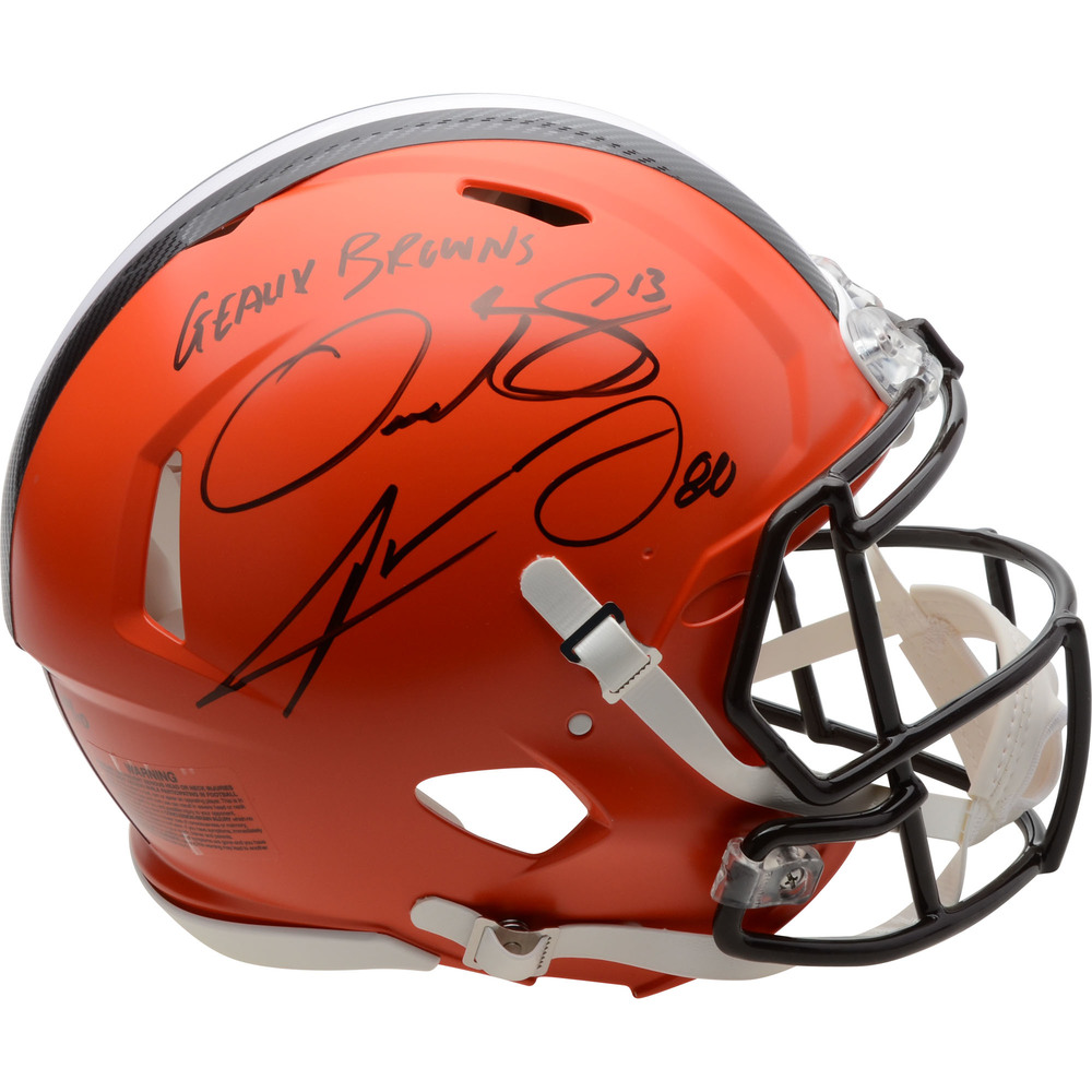 Jarvis Landry and Odell Beckham Jr. Cleveland Browns Autographed Riddell Speed Authentic Helmet with