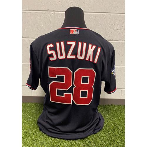 Photo of Game-Used Kurt Suzuki Navy Script Jersey - Worn World Series Games 1, 2, 5 and 7