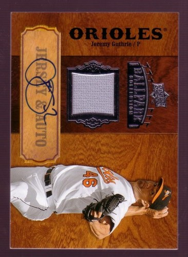 Photo of 2008 Upper Deck Ballpark Collection Jersey Autographs #56 Jeremy Guthrie