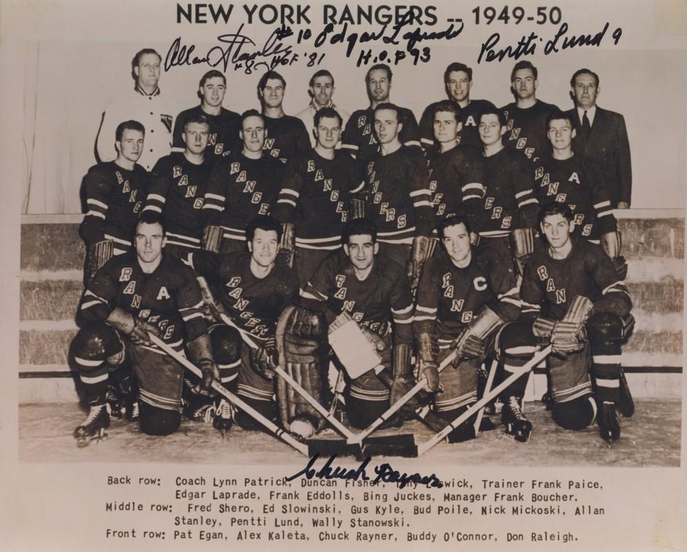 1949-50 New York Rangers MULTI-SIGNED 8X10 Team Photo *STANLEY, LAPRADE, LUND, RAYNER*