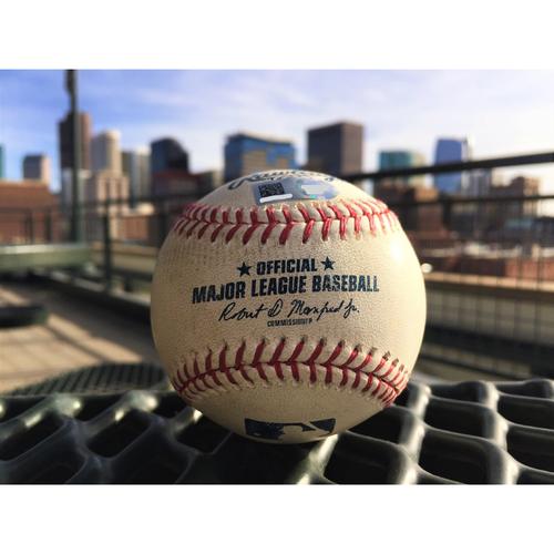 Photo of Colorado Rockies Trevor Story Game-Used Baseball - Triple