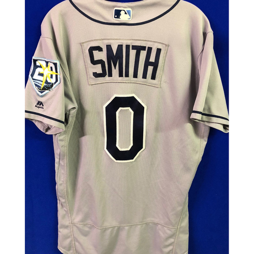 Photo of 20th Anniversary Game Used Gray Jersey: Mallex Smith (5H, HR, 2R, 2RBI) - August 15, 2018 at NYY and August 17, 2018 at BOS