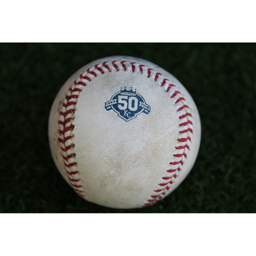 Photo of Game-Used Baseball: Rajai Davis 222nd Career Double (CLE @ KC -7/2/18)