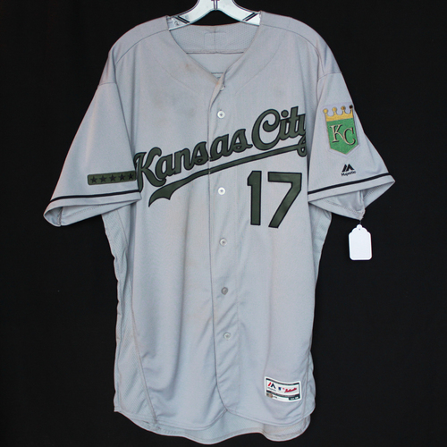 Photo of Game-Used Jersey: Hunter Dozier (Size 48 - KC @ TEX - 5/27/18)
