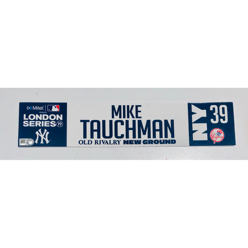 Photo of 2019 London Series - Game Used Locker Tag - Mike Tauchman, New York Yankees vs Boston Red Sox - 6/30/2019