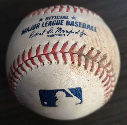 Photo of Authenticated Game Used Baseball: Strikeout by Sam Gaviglio against Abraham Toro (Sep 1, 19 vs HOU). Top 5. Justin Verlander's 3rd Career No Hitter.