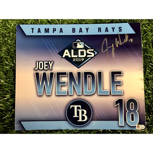 Photo of Game Used ALDS Autographed Locker Tag: Joey Wendle - October 7, 2019 v HOU
