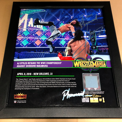 Photo of AJ Styles SIGNED Custom Phenomenal Edition WrestleMania 34 Plaque (1 of 1)