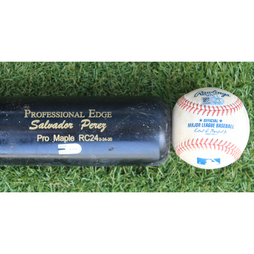 Photo of Game-Used Baseball & Broken Bat: Salvador Perez 976th Career Hit & 518th Career RBI (PIT @ KC 9/13/20)