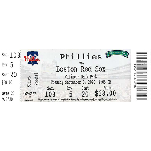 Photo of September 8, 2020 Ticket(Game 1 - Alec Bohm Walk-Off): Phillies vs. Red Sox