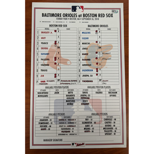 Photo of Red Sox vs Orioles September 26, 2018 Game Used Lineup Card - Orioles Win 10 to 3