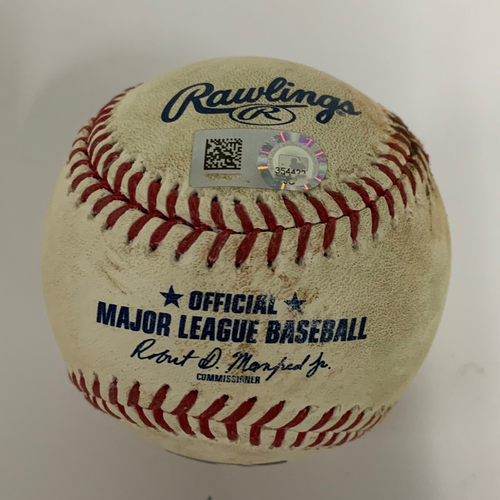 Photo of Game-Used Baseball - 9/14/2017 - Royals at Indians - Indians win 22nd Consecutive Game - American League Record