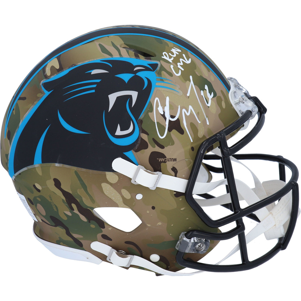 Christian McCaffrey Carolina Panthers Autographed Riddell Camo Alternate Speed Authentic Helmet with