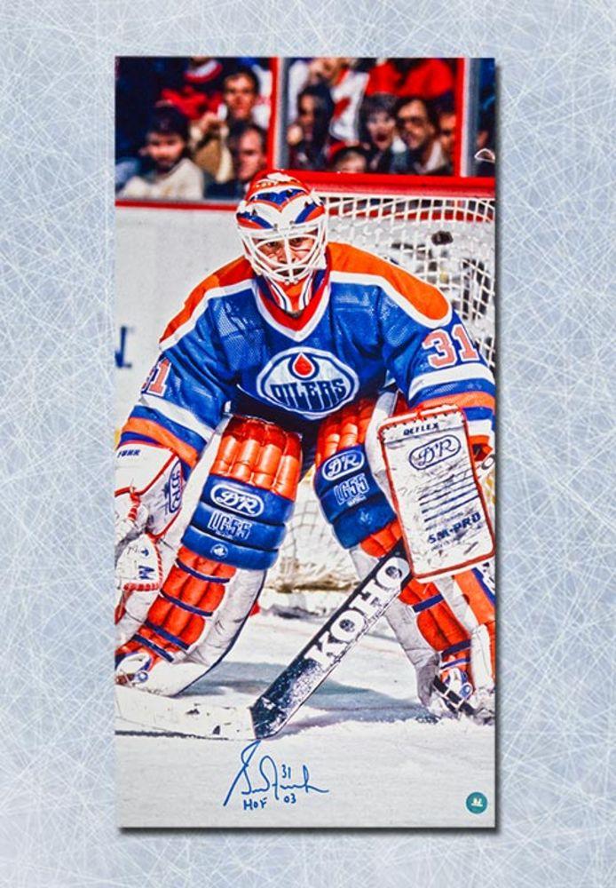 Grant Fuhr Edmonton Oilers Autographed 14x28 Art Canvas