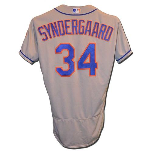 Photo of Noah Syndergaard #34 - Game Used Road Grey Jersey - 7.1 IP, 1 ER, 7 K's, ND - Mets vs. Cardinals - 4/26/18 - 6 IP, 5 K's, 2nd Win of Season - Mets vs. Marlins - 4/9/18