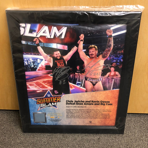 Photo of Chris Jericho & Kevin Owens SIGNED SummerSlam 2016 Signature Series Ring Canvas Plaque (#4 of 5)