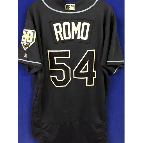 Photo of 20th Anniversary Game Used Navy Jersey: Sergio Romo - 100th Career Save - August 19, 2018 at BOS