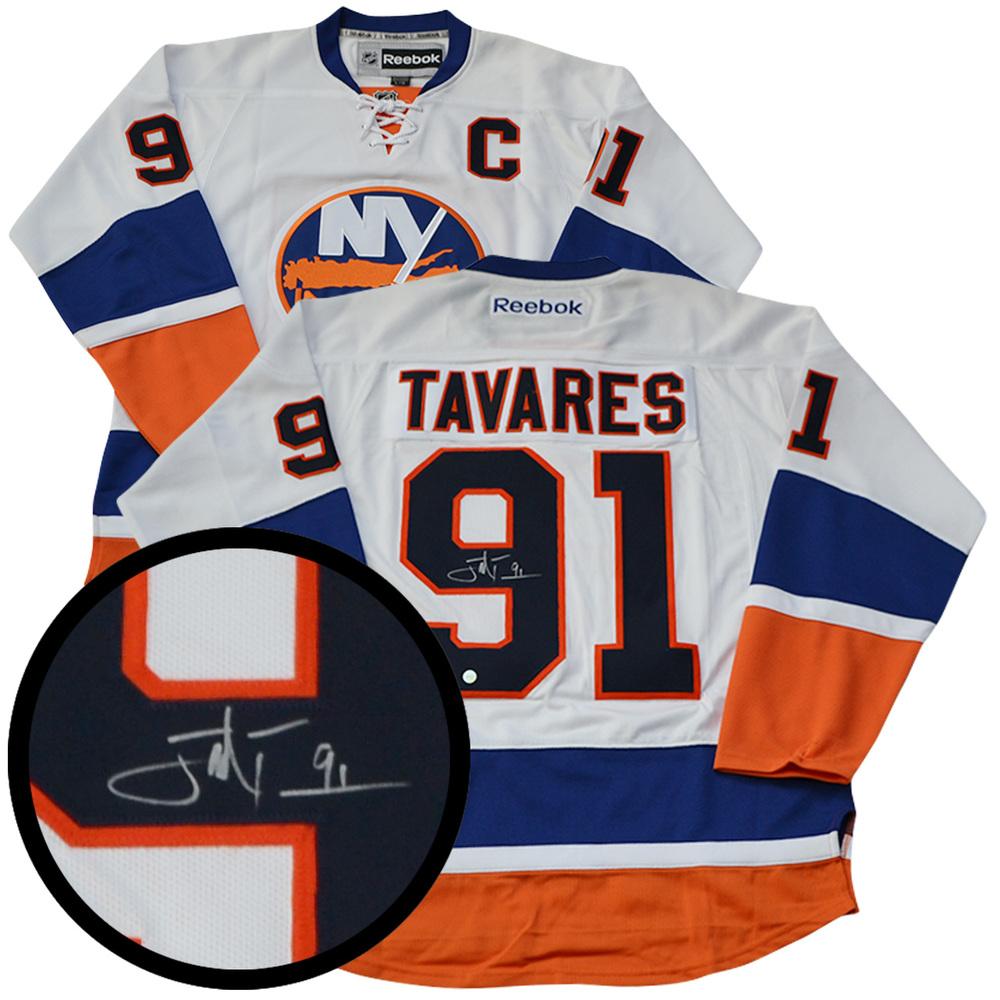new style 166be 98f1c John Tavares Signed Jersey Islanders Replica Reebok White ...