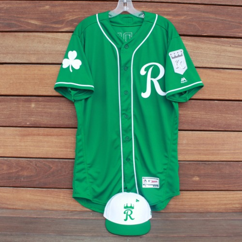 Photo of Team-Issued Saint Patrick's Day Jersey and Game-Used Cap: Nicky Lopez (KC @ SF - 3/17/19 - Jersey Size 44 - Cap Size 7 1/8)