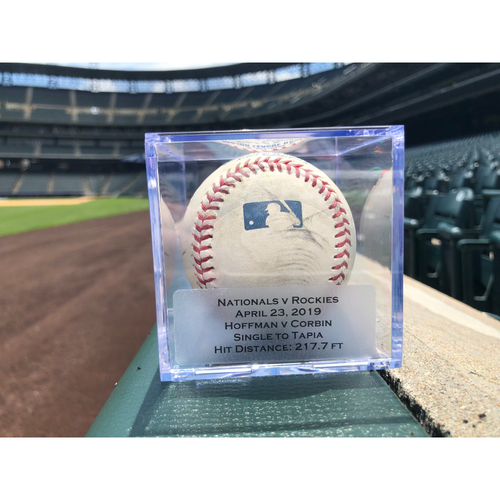 Photo of Game Used Baseball: Pitcher: Jeff Hoffman, Batter: Patrick Corbin (Single)- 4-23-2019 vs. WAS