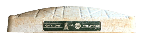 Photo of Game-Used 1st Base -- Used in Innings 5 through 9 -- Angels vs. Cubs -- 4/13/19