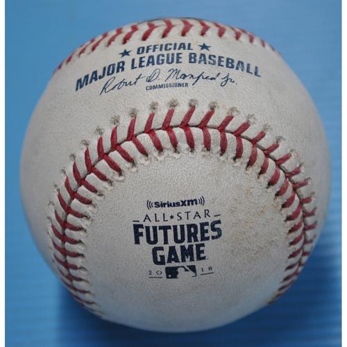 Photo of Game-Used Baseball - 2018 All-Star Futures Game - Pitcher - Jesus Luzardo, Batter - Keston Hiura - Strikeout - Bottom 2